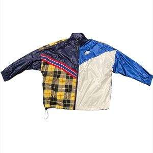 NWT Nike Yellow Blue Plaid Zip Up Windbreaker Jacket Women's Size Large